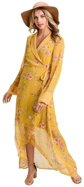 Item - Mustard Floral Wrap In New M Long Night Out Dress Size 8 (M)