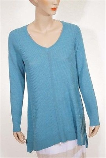 Eileen Fisher Womens Wool V Neck Tunic Long Sleeve Sweater