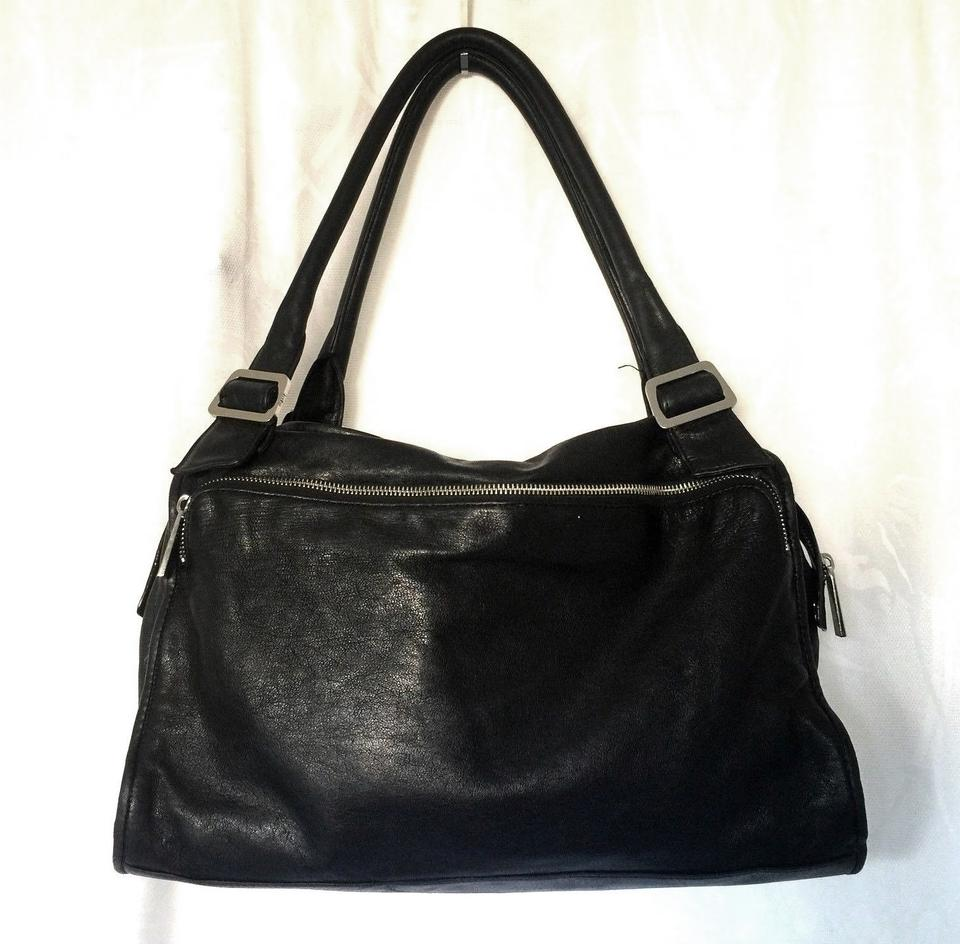Black Tote Pockets Zip Handbag Dual Buckle Leather Bag Shoulder Kooba BfqTYn5
