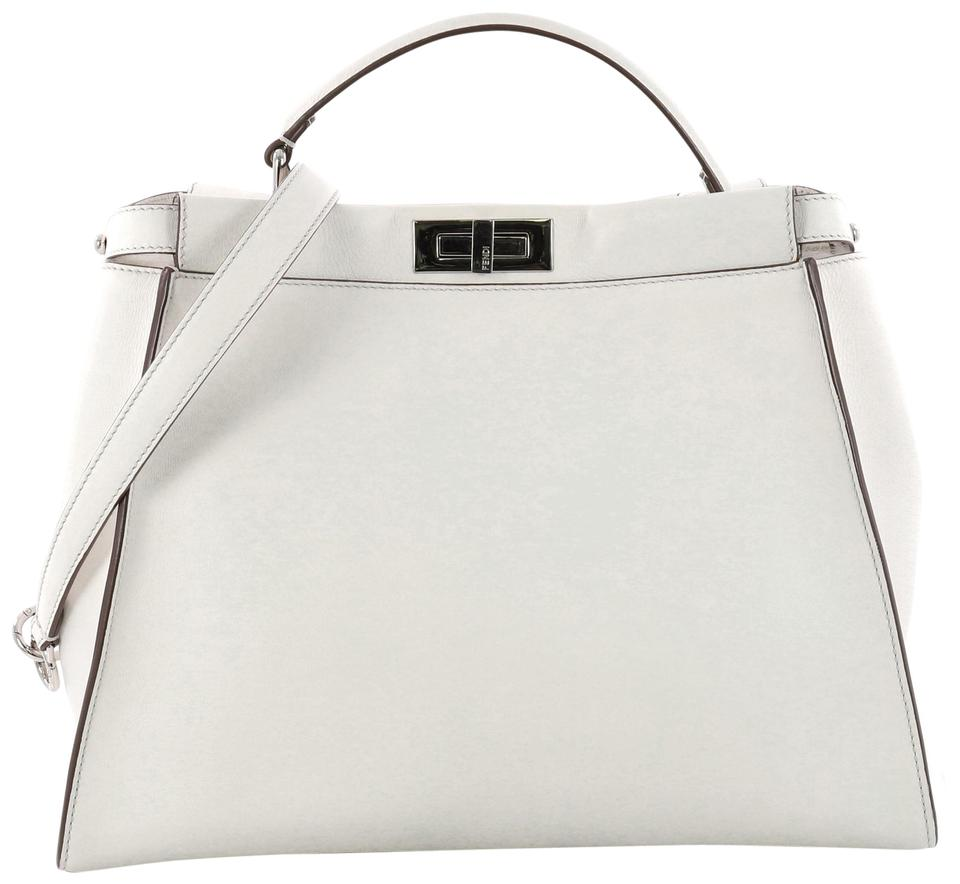 f2828d06f86d Fendi Peekaboo Monster Handbag with Fur Interior Large White Leather ...