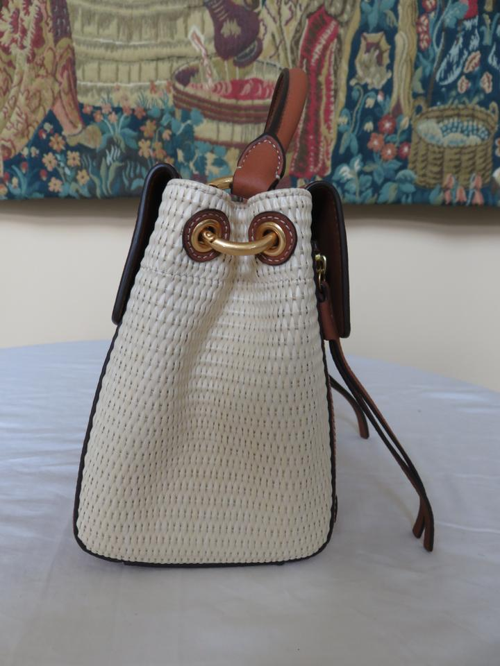Bag Tan Trim Straw Classic Ivory Leather Tory Natural Burch Cross Body wZxBR4