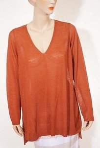 Eileen Fisher Womens Rust Wool V Neck Tunic Long Sleeve 2x Sweater