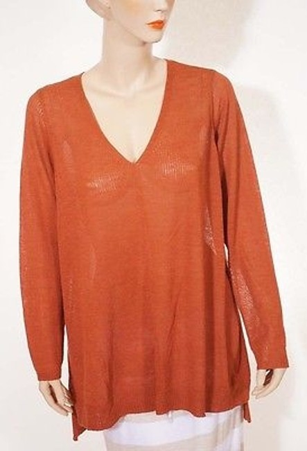 Preload https://item1.tradesy.com/images/eileen-fisher-womens-rust-wool-v-neck-tunic-long-sleeve-pullover-top-sweater-2x-2385460-0-0.jpg?width=400&height=650