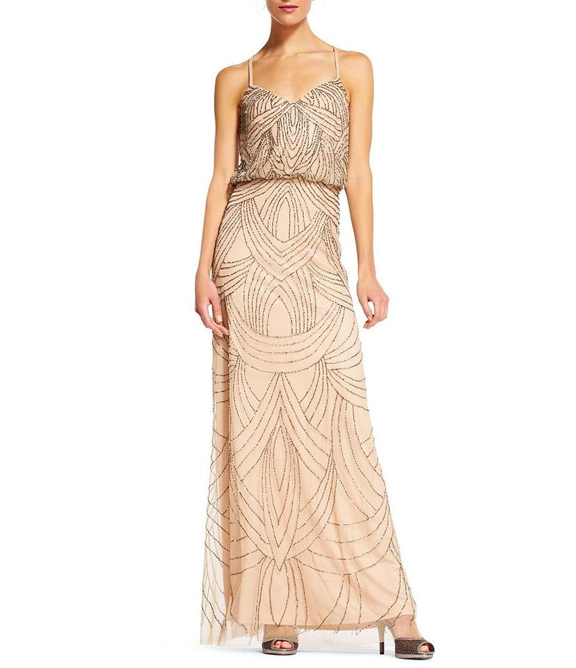 45444d8a8f Adrianna Papell Taupe Pink Art Deco Beaded Chiffon Blouson Gown Long ...
