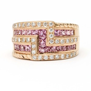 Le Vian LeVian Pink Sapphire and Diamond 14k Rose Gold Ring Size 6.75