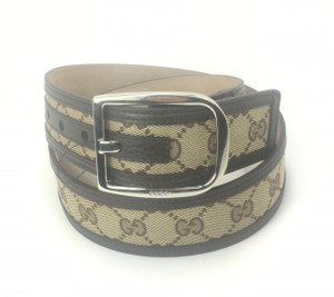 """Gucci Gucci GG Canvas on Leather Belt 30""""-34"""" (85-34) #449716"""