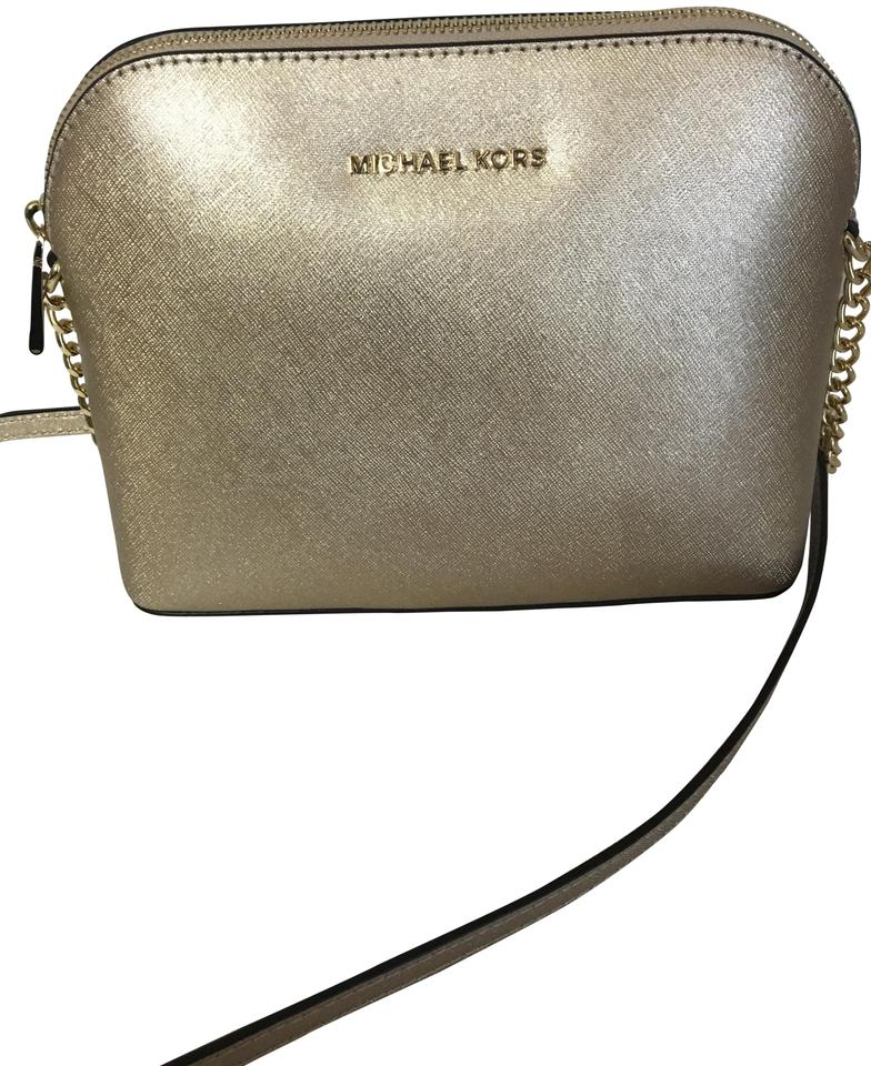 81e75e04c0c3 MICHAEL Michael Kors Cindy Large Metallic Pale Gold Leather Cross ...