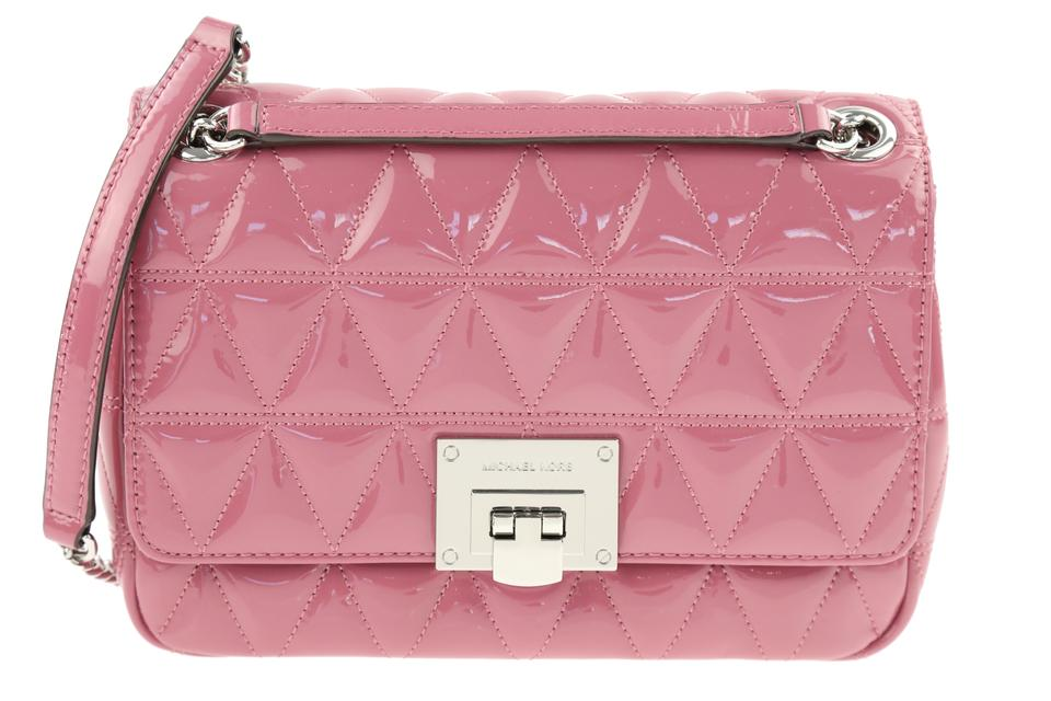 d060094430a5 Michael Kors Vivianne Medium Quilted Pink Patent Leather Shoulder ...