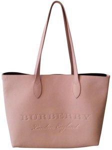 7a4bc6877381 Burberry London Large Remington Pink Leather Pebbled Calfskin Tote ...