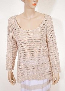 Lucky Brand 7wd5063 Womens Linen Knitted Crewneck See Through Sweater