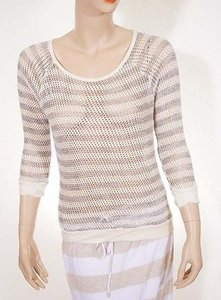 C&C California Womens White Black Stripe Knitted Crewneck Sweater