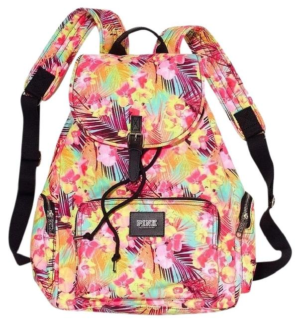 PINK Victoria's Secret Tropical Floral Hawaiian Print Multi Color Canvas Backpack PINK Victoria's Secret Tropical Floral Hawaiian Print Multi Color Canvas Backpack Image 1