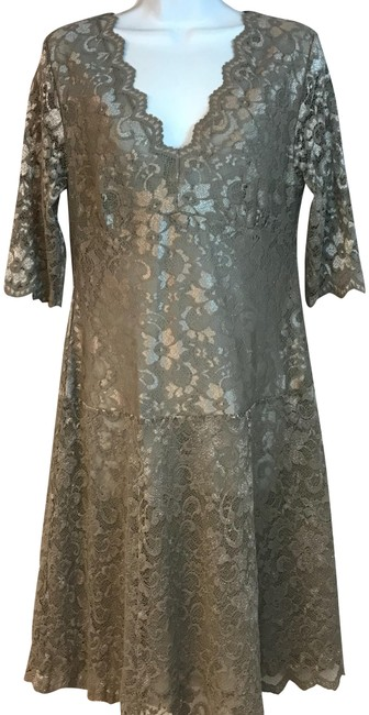 Item - Taupe L Semi-sheer Mid-length Night Out Dress Size 12 (L)