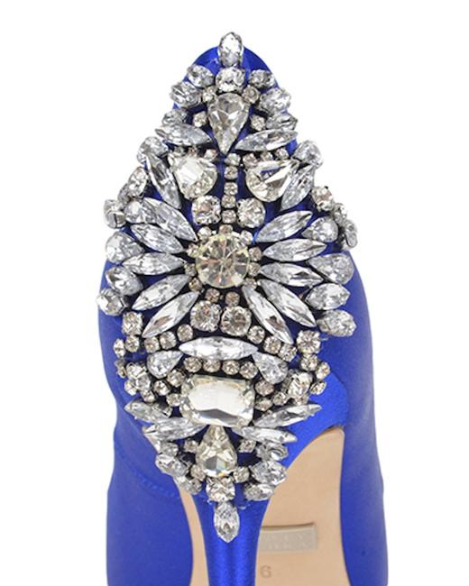 Item - Blue Nilla Crystal Embellished Sapphire Heel Pumps Size US 7 Regular (M, B)