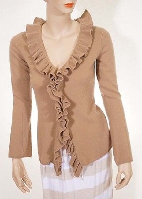 Preload https://img-static.tradesy.com/item/2385535/magaschoni-womens-brown-cashmere-ruffled-front-cardigan-sweater-0-0-650-650.jpg