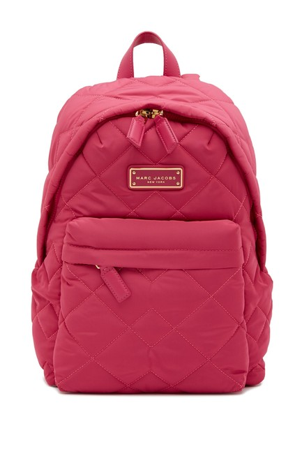 Item - Quilted Rugsack Pink Nylon Backpack