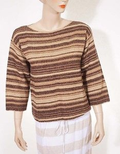 Ralph Lauren Blue Label Womens Linen Cashmere Wool Silk Stripe Scoop Sweat Sweater