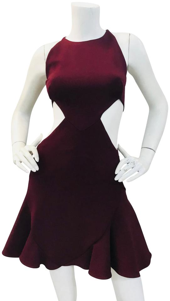 85ea1d9cd866 Cushnie et Ochs Burgundy Viscose Flared Mini Short Cocktail Dress ...