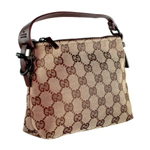 Gucci Fabric Canvas Monogram Satchel Leather Wristlet in Beige Brown 6388