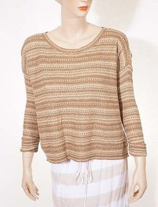 Ralph Lauren Blue Label Womens Linen Mulberry Silk Stripe Scoop Sweater