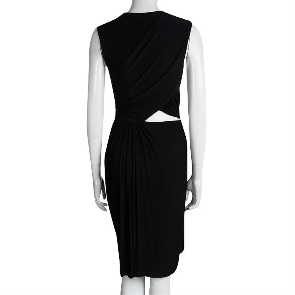 0298c64ab0def Alexander Wang Black Cutout Detail Sleeveless Draped Short Formal ...