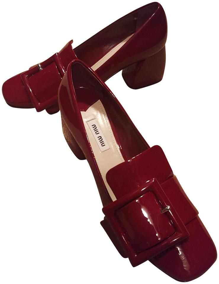 Miu Miu Red Fall. Perfect Color For This Fall. Red Over-sized Buckle Pumps 997a9f