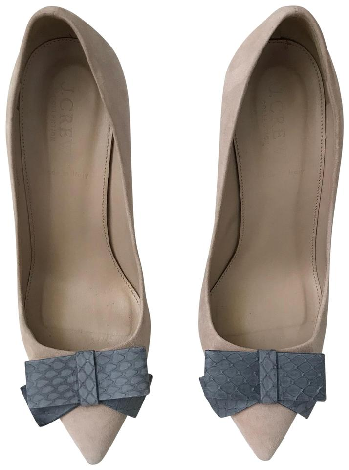 J.Crew Nude Cream Bow Gray Collection Contessa Leather & Snakeskin Bow Cream Heels Pumps 18fbfa