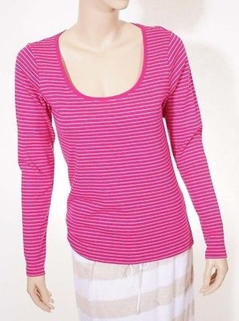 Preload https://img-static.tradesy.com/item/2385616/ralph-lauren-sport-womens-stripe-scoop-neck-long-sleeve-top-shirt-pink-0-0-650-650.jpg