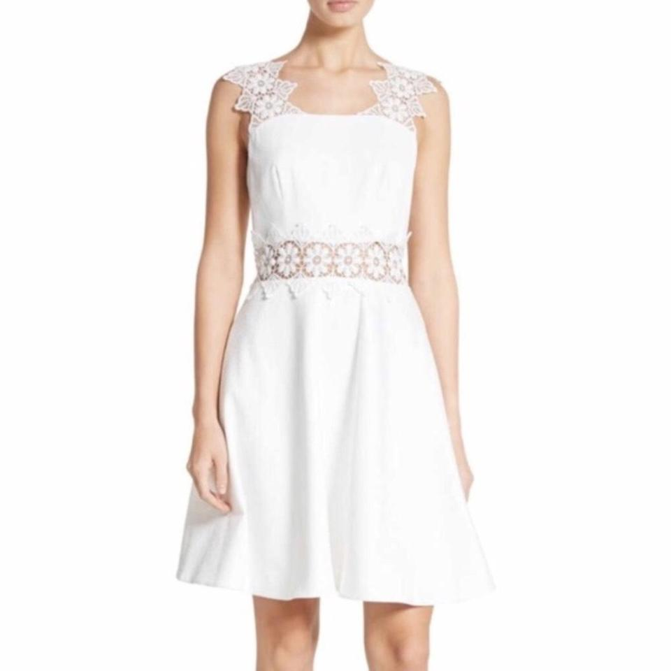 Ted Baker White 44 Embroidered Lace A Line Shift Mid Length Cocktail