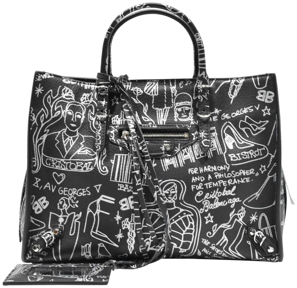 75ba2b8189ab72 Graffiti Cross Leather A6 Balenciaga Calfskin Around Body Zip Black Bag  Papier wPxx8qI ...