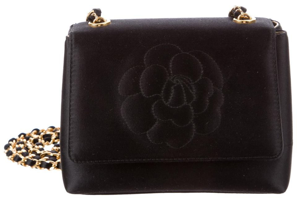 125db50ec791 Chanel Classic Flap Camellia Flower Mini Square Quilted Cc Logo Crossbody  Lambskin Black Satin Shoulder Bag