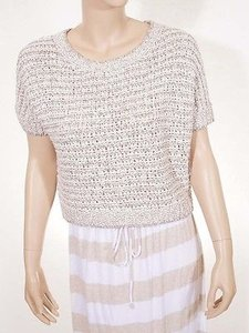 Free People People F380x170 Womens Linen School Boy Chunky Short Sleeve Sweater