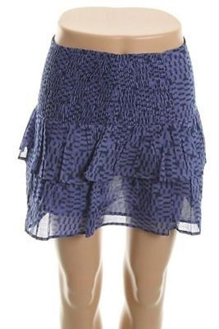 French Connection Womens Violet Ivy Pixie Pixels Tiered Band Skirt Blue
