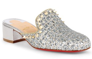 Christian Louboutin Spiked Silver, glitter, sparkle, metallic Mules