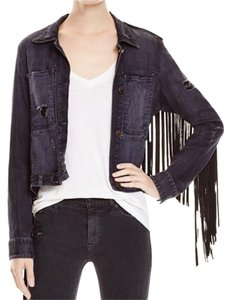 McGuire Distressed Fringed Leather Stretch black Womens Jean Jacket