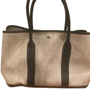 Hermes Tote in Grey canvas and Black