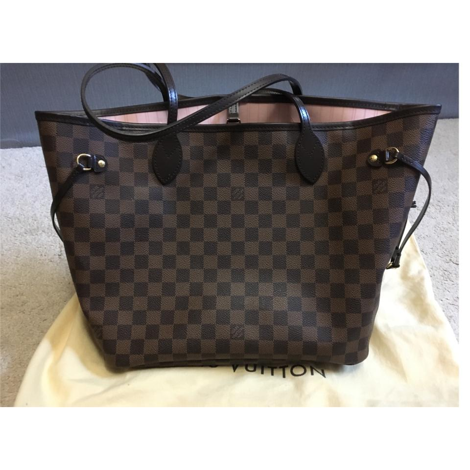 b4879817db18 Louis Vuitton Neverfull Damier Ebene Mm Rose Ballerine Tote - Tradesy