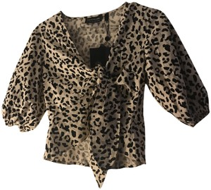 The Fifth Label Crop Animal Print Sleeve Detail Peplum Fall Top Sand Leopard