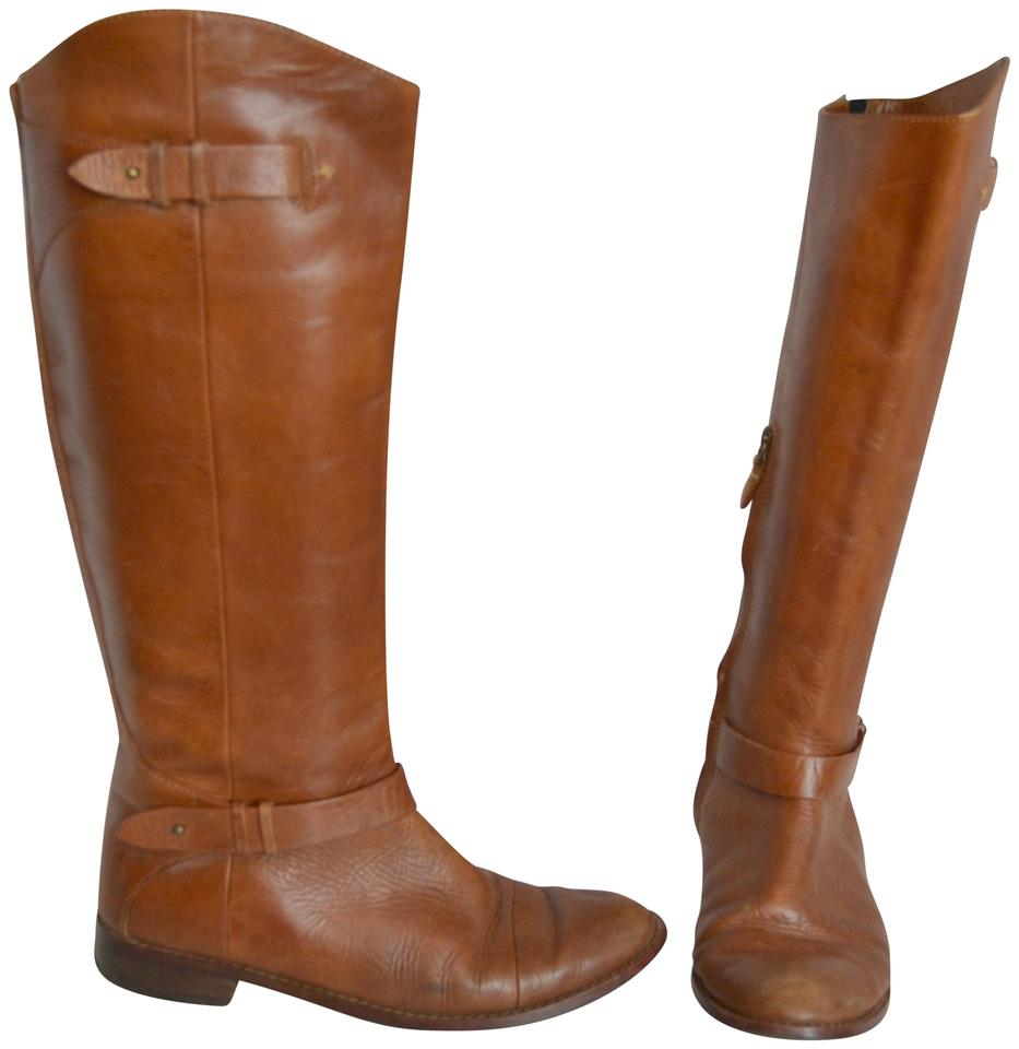 Halogen Brown High (Dark Tan) Leather Knee High Brown Riding Style Boots/Booties df09cd