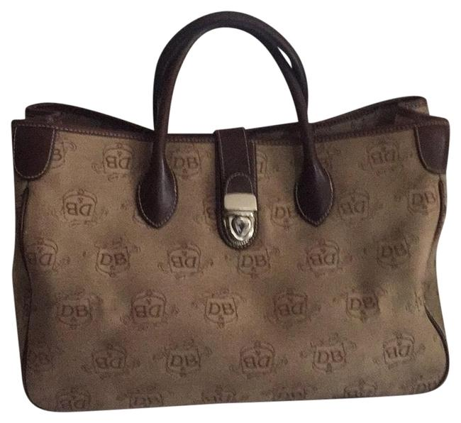 Dooney & Bourke Brown Fabric and Leather Satchel Dooney & Bourke Brown Fabric and Leather Satchel Image 1