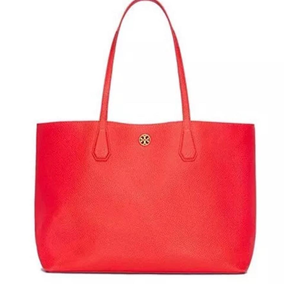With Tag Perry Poppy Tote Red Tory Burch Leather f6UWvv