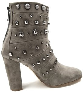 Badgley Mischka Back Zip Silver Studded Taupe Boots