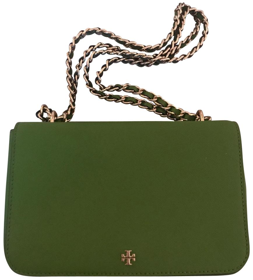 0dbd9afd17 Tory Burch Robinson Green Leather Cross Body Bag - Tradesy