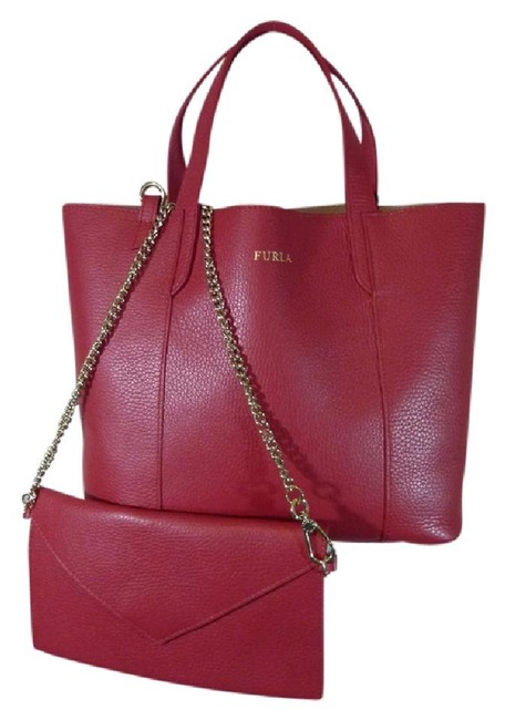Furla Red/Pink Small Elle Red/Pink Pebbled Leather Tote Furla Red/Pink Small Elle Red/Pink Pebbled Leather Tote Image 1