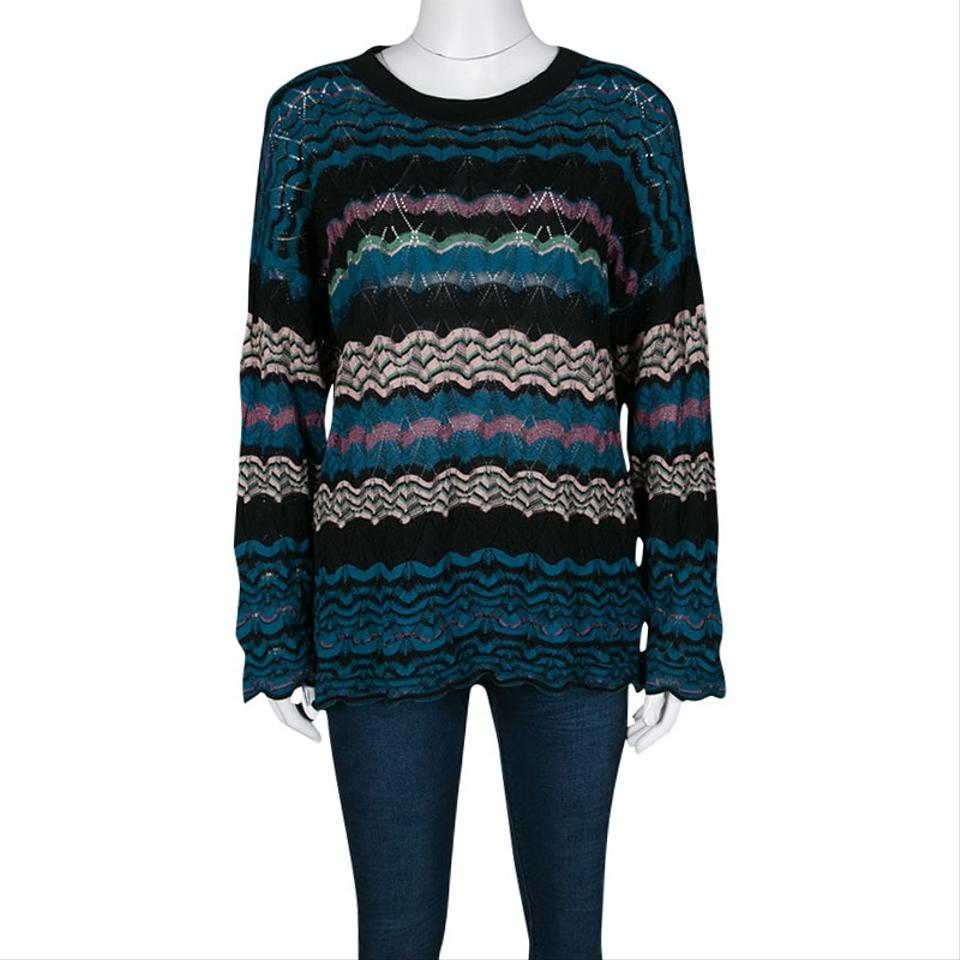 Pullover M Knit Patterned Missoni Sweater Perforated Multicolor 4RR061wqT