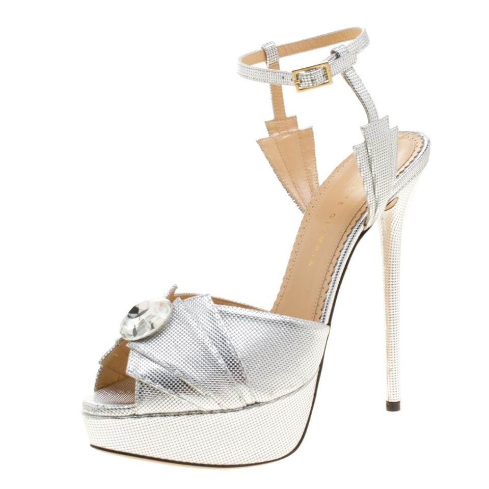 d07692416a77 Charlotte Olympia Metallic Silver Leather Sky Scraper Crystal Embellished  Peep Toe Ankle Sandals