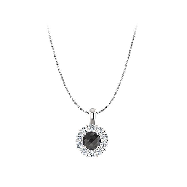 Black Ultimate Onyx Cz Halo Pendant In Sterling Silver Necklace Black Ultimate Onyx Cz Halo Pendant In Sterling Silver Necklace Image 1