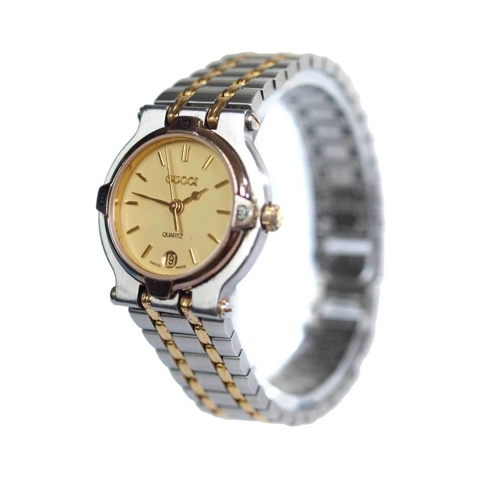 578cfe42521 Gucci 9000L Two-Tone Gold Stainless Steel Vintage Ladies Watch Image 0 ...