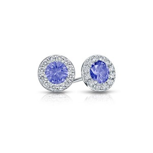 DesignerByVeronica Created Tanzanite and CZ Halo Stud Earrings in Sterling Silver 1.50.ct