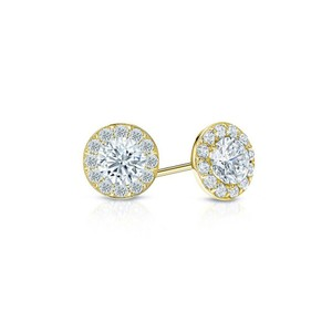 DesignerByVeronica Cubic Zirconia Halo Stud Earrings in 18K Yellow Gold over Sterling Sil